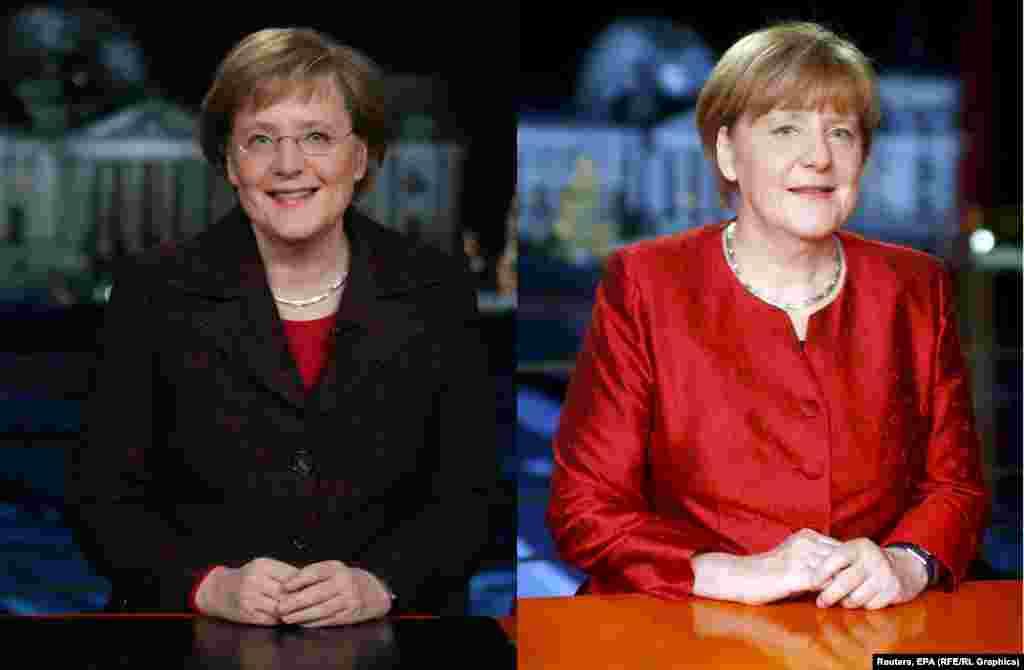 Ангела Меркель записывает первое на посту канцлера Германии новогоднее обращение в 2005 году (слева). На фото справа – Ангела Меркель сейчас