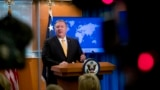 U.S. -- U.S. Secretary of State Mike Pompeo speaks at a news conference at the State Department in Washington, Friday, February 1, 2019. Secretary of State Mike Pompeo has announced that the U.S. is pulling out of a treaty with Russia that's been a center