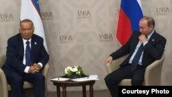 Президент России Владимир Путин с президентом Узбекистана Исламом Каримовым
