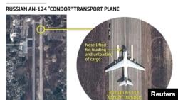 Спутниковые снимки, показывающие российский самолет АН-124 в Латакии 15 сентября 2015 года, данные Stratfor