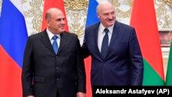 Премьер-министр России Михаил Мишустин и действующий президент Беларуси Александр Лукашенко 3 сентября 2020 года. Фото: AP