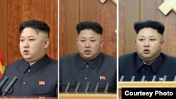 Слева направо: Ким Чен Ын во время новогодних посланий 1 января 2013, 2014 и 2015 годов