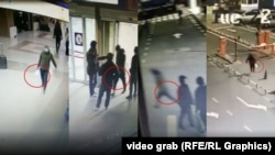 Записи с камер наблюдения в аэропорту показывающие момент передачи сумки