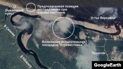 Карта участка в Нёноксе, где произошел взрыв 8 августа