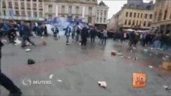 Во Франции полиция применила слезоточивый газ, пытаясь разогнать около 200 разбушевавшихся футбольных фанатов
