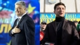 UKRAINE – A combo photo shows presidential candidates Petro Poroshenko (left) and Volodymyr Zelenskyy