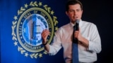 Democratic presidential candidate and former South Bend, Indiana mayor Pete Buttigieg speaks during a campaign stop in Portsmouth, New Hampshire,