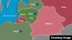 Belarus - Lithuania between Belarus and Kaliningrad, map