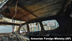 A car destroyed by shelling in Stepanakert, capital of the breakaway Nagorno-Karabakh region, on September 29, 2020