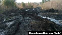 Разбитая дорога в Шелеховском районе Иркутской области