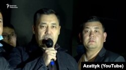 Sadyr Japarov, a former aide to ex-President Kurmanbek Bakiev, addresses a crowd in Bishkek on October 8, 2020.