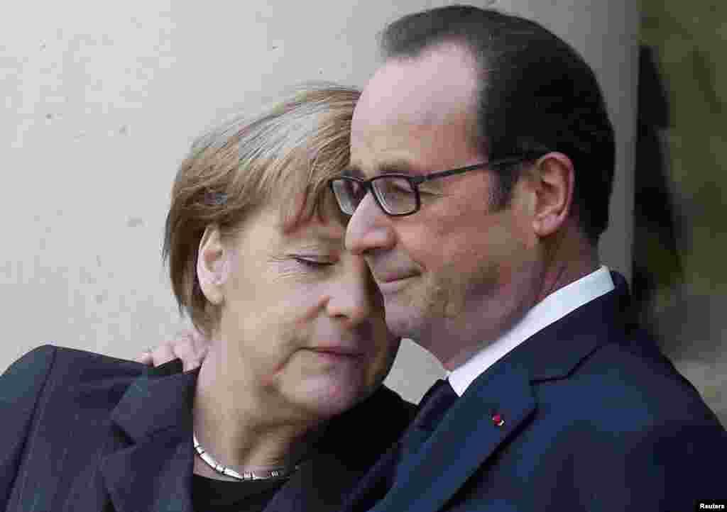 Лидеры Франции и Германии Франсуа Олланд и Ангела Меркель