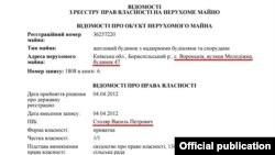 Справка из реестра недвижимости, подтверждающая, что домом владеет епископ УПЦ МП Варсонофий
