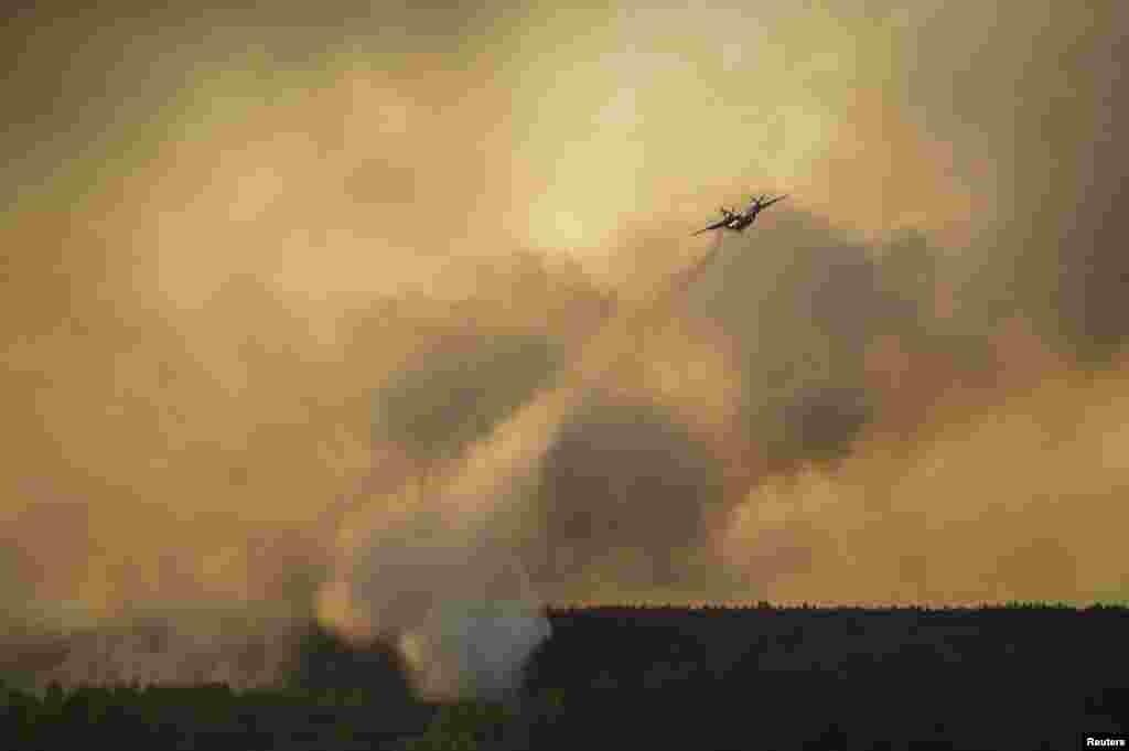Пожарный самолет сбрасывает воду на горящий лес в окрестностях Чернобыля