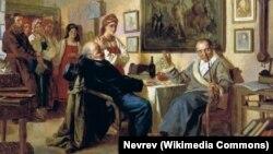 """""""Торг. Сцена из крепостного быта"""". Николай Неврев, 1866"""