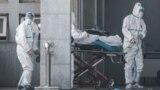 Медики в защитных костюмах и пациент в больнице города Ухань 18 января 2020 года. Фото: STR/AFP