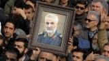 Iran - a portrait of Qasem Soleimani, the Iranian commander who led the elite Quds Force wing of the Islamic Revolutionary Guards Corps (IRGC). screen grab