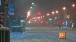 Снежный буран в Нью-Йорке