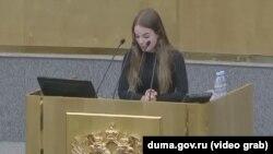 Саша Спилберг (Александра Балковская) выступает в Госдуме