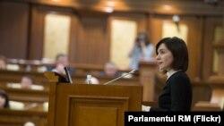 Премьер Молдовы Майя Санду выступает в парламенте