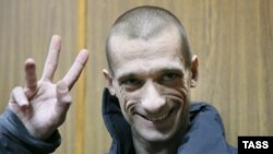 Петр Павленский на слушаниях в суде 26 февраля