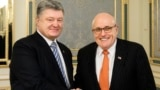 UKRAINE -- Ukrainian President Petro Poroshenko, left, poses with former New York Mayor Rudy Giuliani during their meeting in Kyiv, November 22, 2017