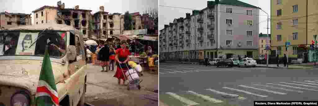 Рынок в конце проспекта Мира лежит среди руин, но жизнь здесь кипит. На фото, снятых в сентябре 1996 года, чеченские бойцы ездят с портретом своего лидера – Джохара Дудаева. В настоящее время рынок перенесли, а на его месте построены новые жилые дома.