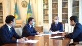 Президент Казахстана Токаев с премьером Аскаром Маминым и главой Минздрава Казахстана Алексеем Цоем