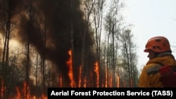 Пожарные перед огнем в Якутии, 2 августа 2021 года