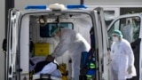 NORTH MACEDONIA -- An ambulance carrying patient infected with COVID-19, arrives to the University Clinic for Infectious Diseases in Skopje, October 13, 2020