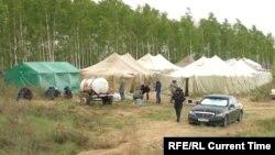 Лагеря мигрантов на границе Казахстана и России в Оренбургской области