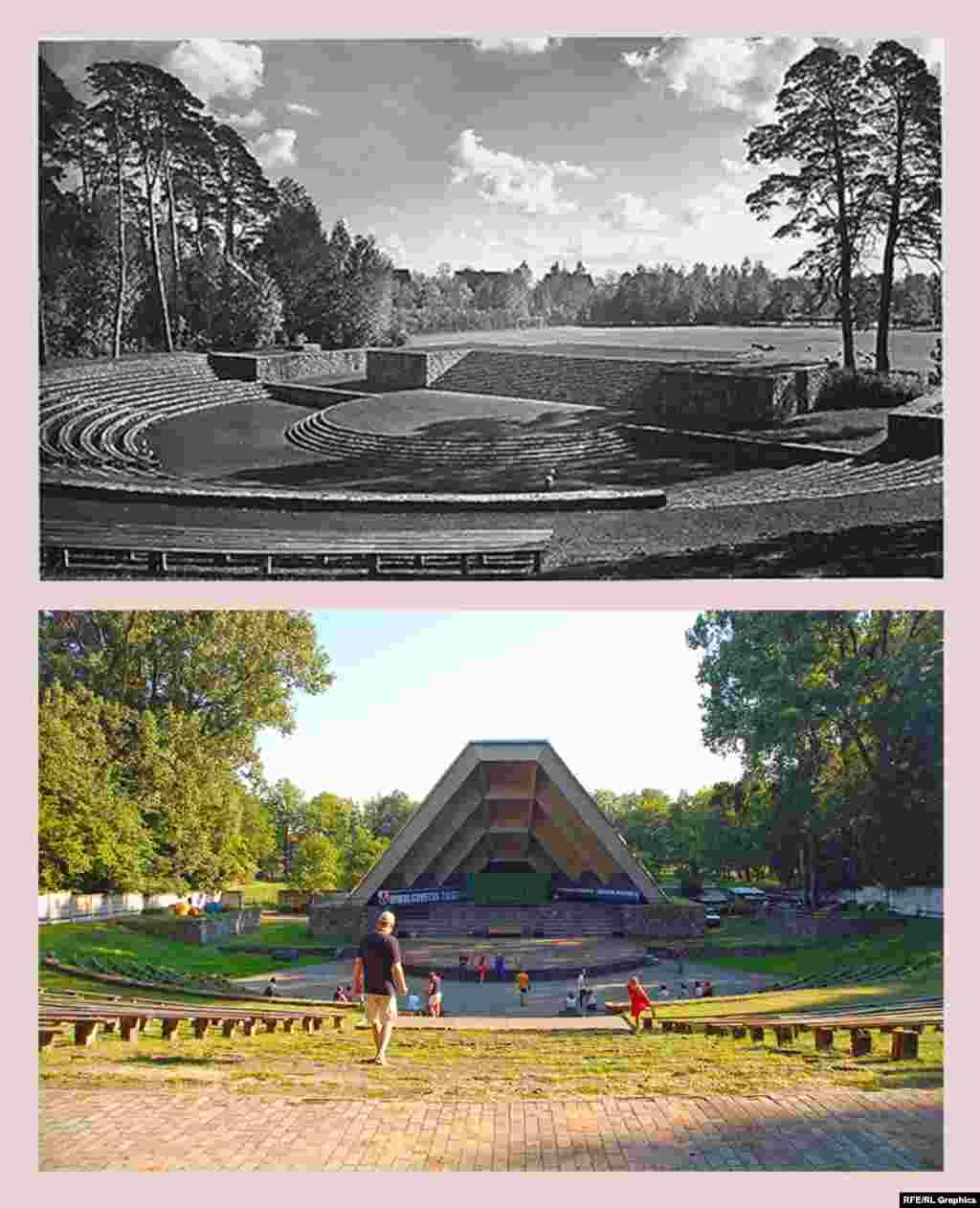 Советск (ранее – Тильзит), Зеленый театр (ранее – Тинг) Тинги – амфитеатры в форме подковы, предназначенные для собраний патриотической молодежи Третьего рейха. Нацистское министерство пропаганды планировало построить по всей стране 1200 тингов, на деле было возведено 40. Тильзитский тинг появился в 1935 году. Тинги находились на открытых площадках, визуально включавших в себя окрестные пейзажи. Сцена, возведенная в послевоенные годы, лишила тинг в Советске именно этой черты. Зато современный лозунг справа, гласящий «Сильная Россия – Единая Россия», как раз очень точно соответствует изначальному духу места.