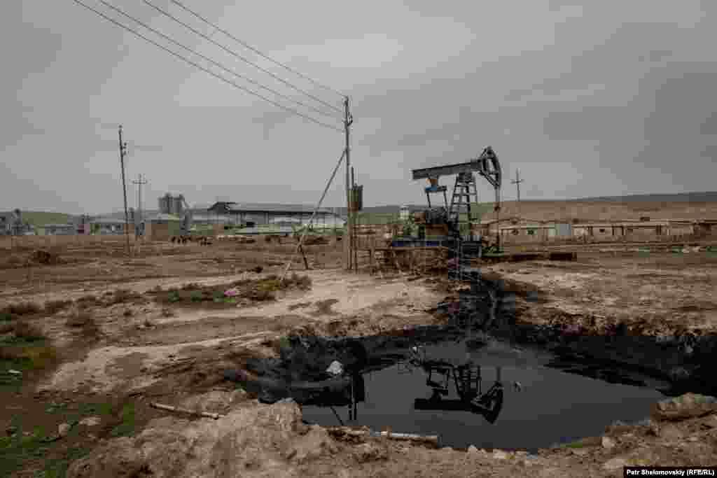 Нефтяная вышка рядом с фермой