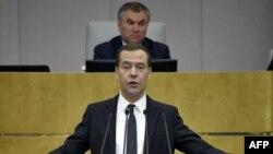 Дмитрий Медведев во время отчета о работе правительства 19 апреля