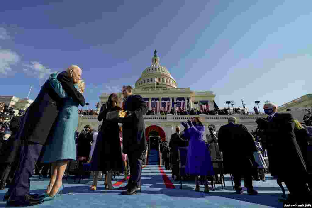 Outgoing Vice President Mike Pence attended the inauguration, along with almost all of the living U.S. presidents and their wives: Barak and Michelle Obama, Bill and Hillary Clinton, and George W. and Laura Bush. Former President Jimmy Carter, 96, did not attend because of  health risks associated with the COVID-19 pandemic.