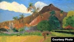 """Одна из работа Гогена """"Горы на Таити"""""""