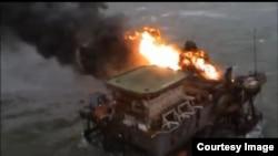 """Пожар на платформе """"Гюнешли"""""""