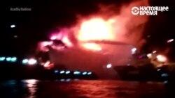 Пожар на азербайджанском нефтяном месторождении Гюнешли в Каспийском море