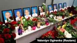 A memorial in Ukraine's Boryspil International Airport to the nine crew members of the Ukraine International Airlines Boeing 737-800 plane that crashed in Iran on January 8, 2020.