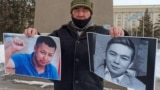 Kazakhstan - A resident of Uralsk Bekbolat Utebayev holds action in memory of the activist Dulat Agadil and his son Zhanbolat Agadil. West Kazakhstan region, 25Feb2021.