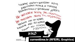 Зарубежным НКО в России не место - карикатура currenttime.tv