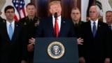 U.S. -- U.S. President Donald Trump addresses the nation from the White House on the ballistic missile strike that Iran launched against Iraqi air bases housing U.S. troops, in Washington, Januaru 8, 2020