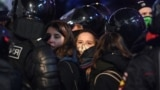 RUSSIA -- Police detain people during a protest against a court decision ordered Russian opposition leader Alexei Navalny jailed for nearly three years, in downtown Moscow, February 2, 2021