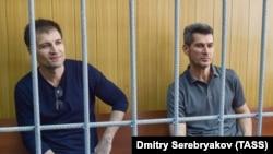 """Основной владелец группы """"Сумма"""" Зиявудин Магомедов и его брат Магомед в зале суда, 1 августа 2018 года"""