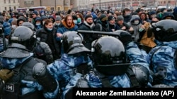 Акция в поддержку Алексея Навального. Москва, Россия, 31 января 2021 года