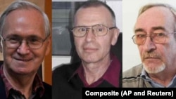 (Left to right) Former State Institute of Organic Synthesis Technology scientists Vil Mirzayanov, Vladimir Uglyov, and Leonid Rink