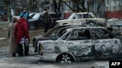 Последствия артобстрела на юге Мариуполя, 25 января 2015