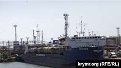 An AnRussTrans ship named the Annenkov on the Russian side of the Kerch Strait. (file photo)