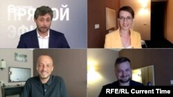 (Left to right:) Current Time anchors Timur Olevsky and Iryna Romaliiska, correspondents Ivan Grebenyuk and Yury Baranyuk on August 8, 2020