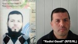 Лутфулло Бобобеков, 38-летний житель города Пенджикент, после бритья в отделении полиции 31 марта 2015 года